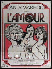 6k753 L'AMOUR French 1p '73 ultra rare Paul Morrissey & Andy Warhol, sexy art by J. David!