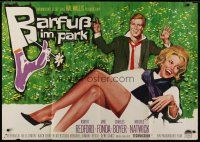 6k072 BAREFOOT IN THE PARK German 33x47 '67 different artwork of Robert Redford & sexy Jane Fonda!