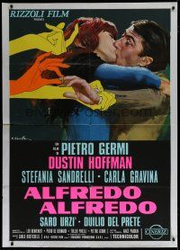 6k184 ALFREDO ALFREDO Italian 1p '72 art of Dustin Hoffman kissing Stefania Sandrelli by Ciriello!