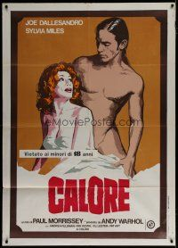 6k185 ANDY WARHOL'S HEAT Italian 1p '74 Andy Warhol, naked Joe Dallesandro & clothed Sylvia Miles!