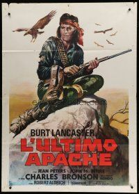 6k187 APACHE Italian 1p R73 Robert Aldrich, different Casaro art of Burt Lancaster with gun!