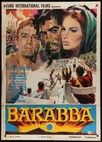 6k188 BARABBAS Italian 1p R60s different art of Anthony Quinn & Silvana Mangano by Angelo Cesselon!