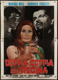 6k124 ALTA TENSION Italian 2p '72 art of super sexy naked Marisa Mell pointing gun by Mos!