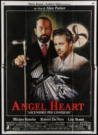 6k127 ANGEL HEART Italian 2p '87 Casaro art of Robert DeNiro & Mickey Rourke, Alan Parker!
