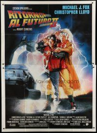 6k128 BACK TO THE FUTURE II Italian 2p '89 art of Michael J. Fox & Christopher Lloyd by Drew!