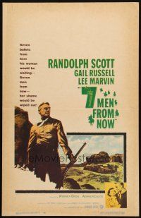 6k262 7 MEN FROM NOW WC '56 Budd Boetticher, great full-length art of Randolph Scott with rifle!