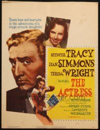 6k265 ACTRESS WC '53 sexy Jean Simmons, huge close-up of Spencer Tracy, Teresa Wright