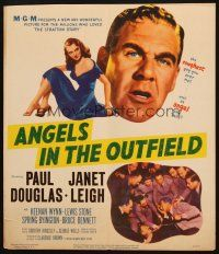 6k271 ANGELS IN THE OUTFIELD WC '51 artwork of Paul Douglas & sexy Janet Leigh, baseball!