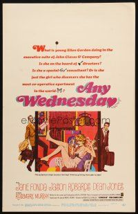 6k272 ANY WEDNESDAY WC '66 Robert McGinnis art of sexy Jane Fonda, Jason Robards & Dean Jones!