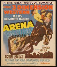 6k273 ARENA WC '53 cool 3-D art of cowboy riding off the screen, 1001 outdoor thrills!