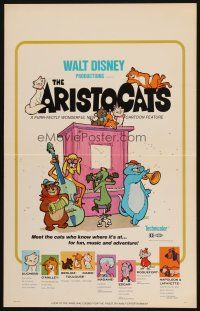 6k274 ARISTOCATS WC '71 Walt Disney feline jazz musical cartoon, great colorful image!