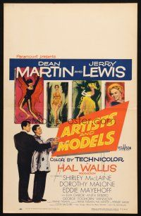 6k275 ARTISTS & MODELS WC '55 Dean Martin & Jerry Lewis painting, sexy Shirley MacLaine!