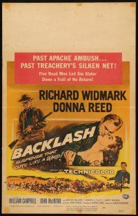 6k277 BACKLASH WC '56 Richard Widmark & sexy Donna Reed in suspense that cuts like a whip!