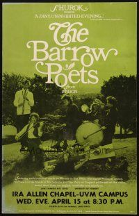 6k035 BARROW POETS 14x22 music concert poster '70s From London, when they appeared in Vermont!