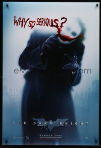6m200 DARK KNIGHT teaser DS 1sh '08 Heath Ledger as the Joker, why so serious?