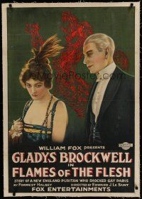 6z145 FLAMES OF THE FLESH linen 1sh '20 betrayed Gladys Brockwell becomes a famous French hooker!