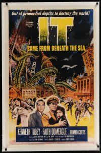 6z217 IT CAME FROM BENEATH THE SEA linen 1sh '55 Harryhausen, art of monster crushing the world!