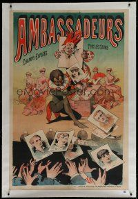 7b163 AMBASSADEURS linen French 33x50 stage show poster '00s La Belle Epoque, cool artwork!