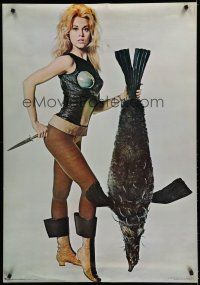 7c061 BARBARELLA 29x42 commercial poster '68 Jane Fonda and penguish, recalled for legal problems!