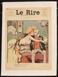 7c291 LE RIRE linen French magazine cover May 25, 1907 Bac art of sexy woman seducing older man!