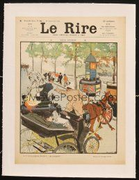 7c292 LE RIRE linen French magazine cover September 10, 1904 Bertindes art of busy city street!