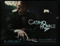 7d418 CASINO ROYALE teaser DS British quad '06 Daniel Craig as James Bond at poker table with gun!