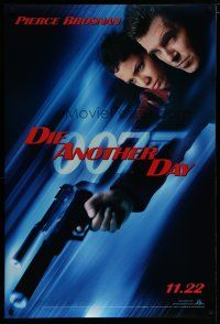 7d414 DIE ANOTHER DAY teaser DS 1sh '03 Pierce Brosnan as James Bond with gun & Halle Berry as Jinx!