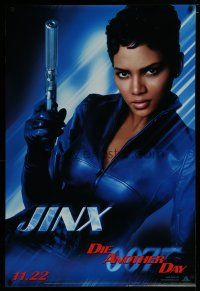 7d411 DIE ANOTHER DAY teaser 1sh '02 James Bond, great portrait of sexy Halle Berry as Jinx!