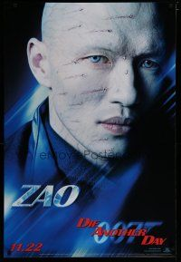 7d409 DIE ANOTHER DAY teaser 1sh '02 James Bond, close up of scarred Rick Yune as Zao!