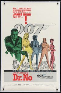 7d002 DR. NO linen 1sh '62 Sean Connery is the most extraordinary gentleman spy James Bond 007!