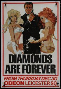 7d189 DIAMONDS ARE FOREVER linen teaser English double crown '71 McGinnis art of Connery as Bond!