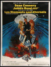 7d194 DIAMONDS ARE FOREVER linen French 1p '71 art of Sean Connery as James Bond by Robert McGinnis!