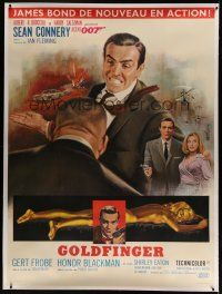 7d076 GOLDFINGER linen French 1p '64 art of Sean Connery as James Bond 007 by Jean Mascii!