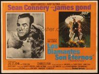 7d197 DIAMONDS ARE FOREVER Mexican LC '71 art of Sean Connery as James Bond, inset w/Jill St. John!