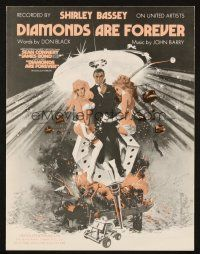 7d198 DIAMONDS ARE FOREVER English sheet music '71 James Bond, the title song by Shirley Bassey!