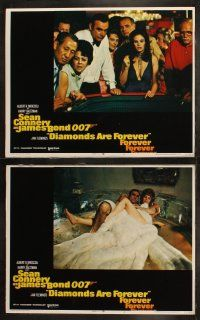 7d186 DIAMONDS ARE FOREVER set of 8 LCs '71 Sean Connery as James Bond 007, sexy Bond girls & more!