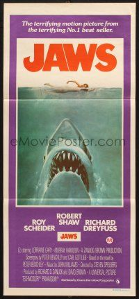 7e842 JAWS Aust daybill 75 art of Spielbergs classic man-eating shark attacking sexy swimmer