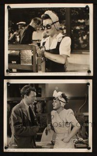 7h932 HERS TO HOLD 2 8x10 stills '43 cool images of gorgeous riveter Deanna Durbin, Joseph Cotten!