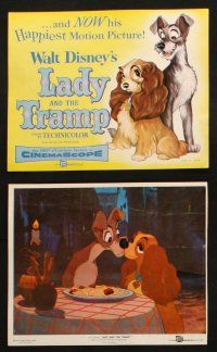 7h080 LADY & THE TRAMP 9 color 8x10 stills '55 Disney classic dog cartoon, includes spaghetti scene