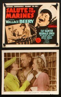 7h061 SALUTE TO THE MARINES 10 color 8x10 stills '43 WWII soldier Wallace Beery, Fay Bainter, art!