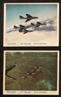 7h095 HIGH FLIGHT 8 color English FOH LCs '57 Ray Milland, military fighter pilots fly secret jets!