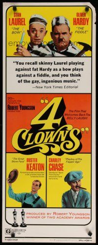 7j003 4 CLOWNS insert '70 Stan Laurel & Oliver Hardy, Buster Keaton, Charley Chase