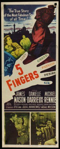 7j004 5 FINGERS insert '52 James Mason, Danielle Darrieux, true story of the most fabulous spy!