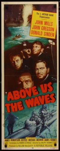 7j005 ABOVE US THE WAVES insert '56 art of John Mills & English WWII sailors at periscope in sub!