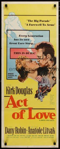 7j006 ACT OF LOVE insert '53 Kirk Douglas, Dany Robin, directed by Anatole Litvak!