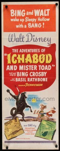 7j009 ADVENTURES OF ICHABOD & MISTER TOAD insert '49 BING & WALT wake up Sleepy Hollow with a BANG