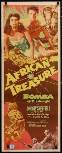 7j013 AFRICAN TREASURE insert '52 Johnny Sheffield as Bomba of the Jungle + Kimbbo the Chimp!