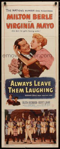 7j018 ALWAYS LEAVE THEM LAUGHING insert '49 great romantic image of Milton Berle & Virginia Mayo!