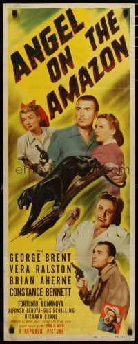 7j021 ANGEL ON THE AMAZON insert '48 George Brent, Vera Ralston, panther attack!