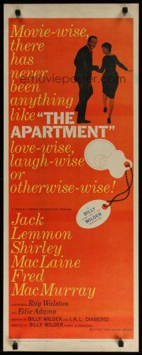7j024 APARTMENT insert '60 directed by Billy Wilder, Jack Lemmon, Shirley MacLaine!